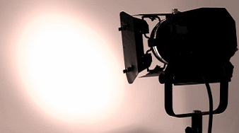 Lighting equipment in action. Round-shape light projection.